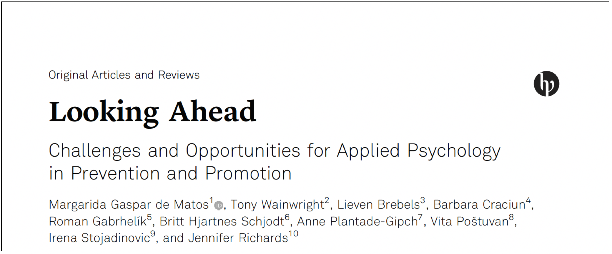 """Looking ahead: Challenges and opportunities for applied psychology in prevention and promotion"" @ European Psychologist"