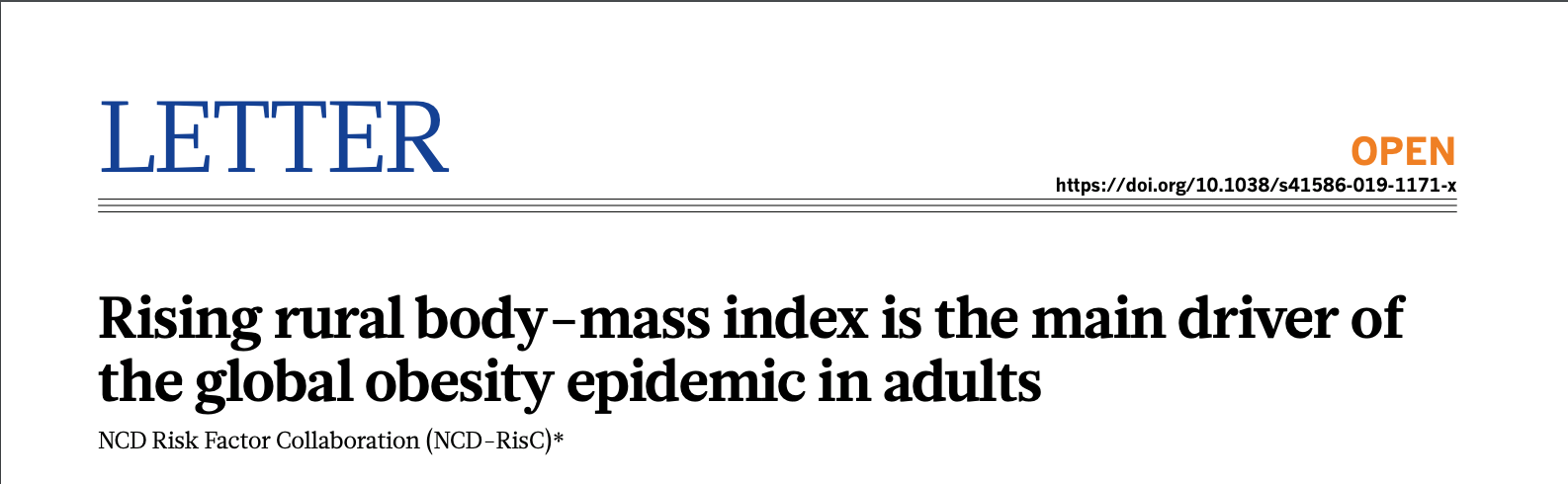 """Rising rural body-mass index is the main driver of the global obesity epidemic in adults"" @ Nature"