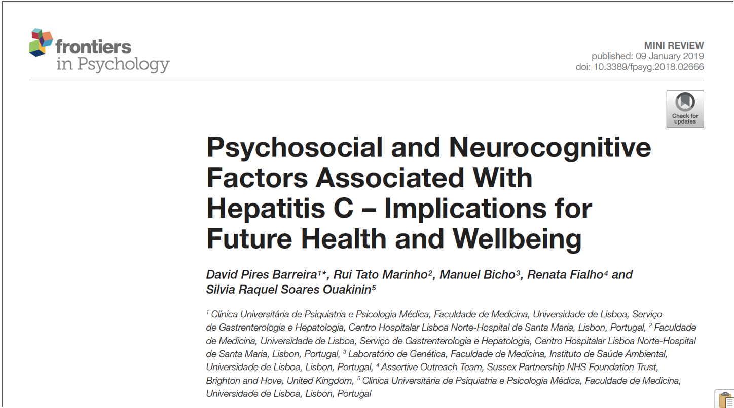 """Psychosocial and neurocognitive factors associated with hepatitis C – Implications for future health and wellbeing"" @ Frontiers in Psychology"