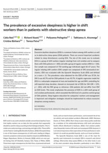 The prevalence of excessive sleepiness is higher in shift workers than in patients with obstructive sleep apnea