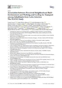 Association between Perceived Neighborhood Built Environment and Walking and Cycling for Transport among Inhabitants from Latin America: The ELANS Study