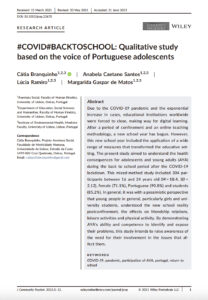 #COVID#BACKTOSCHOOL: Qualitative study based on the voice of Portuguese adolescents
