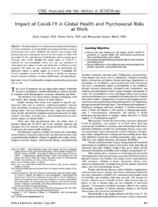 Impact of Covid-19 in Global Health and Psychosocial Risks at Work