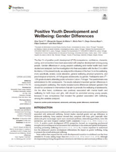 Positive Youth Development and Wellbeing: Gender Differences